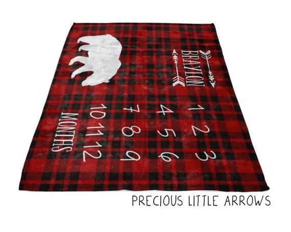 Black Bear Plaid Milestone Blanket  plaid black bear milestone blanket arrows and buffalo plaid blanket black bear nursery