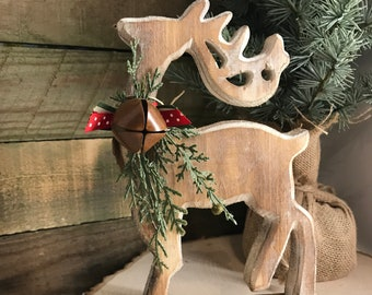 wood deer christmas deer christmas decoration white washed deer christmas decor deer decorated deer wood cutouts deer accent - Christmas Deer Decor