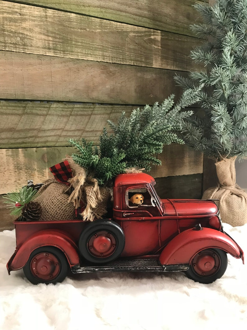 Christmas Red Truck.Red Truck Farmhouse Truck Old Red Truck Christmas Red Truck Christmas Decoration Farmhouse Decoration Farm Truck Christmas Tree