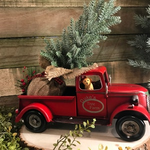 red truck farmhouse christmas decor red metal truck red truck decoration christmas tree decoration farmhouse truck table decor - Christmas Truck Decor