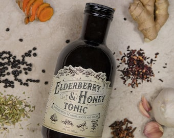 Organic Elderberry & Honey Tonic// TWELVE herbs, roots and spices- LARGE 16oz- No thickeners, no refined sugar