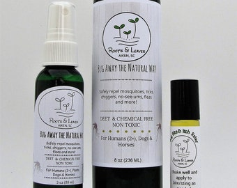 Bug Away the Natural Way- Organic Bug Repellent- Mosquitos/Ticks/No-See-Ums- Herbal infused plus essential oils