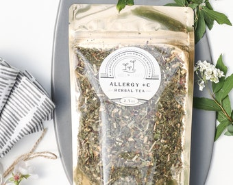 Organic Allergy +C Herbal Tea- 75 cups- Allergy and Sinus Relief with extra vitamin C (loose tea in bag)