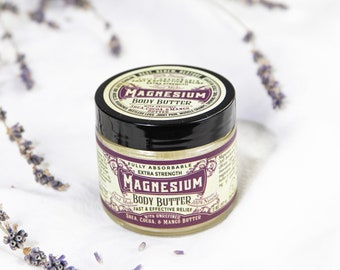 Organic Magnesium Body Butter- Concentrated-3,750 mg of magnesium