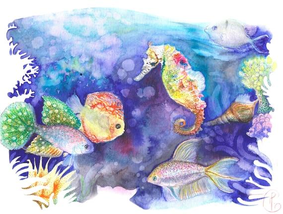 Aquarium Poissons Exotiques Exotisme Mer Hippocampe Etsy