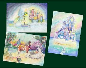 Set of 3 whimsical landscape cards + envelopes