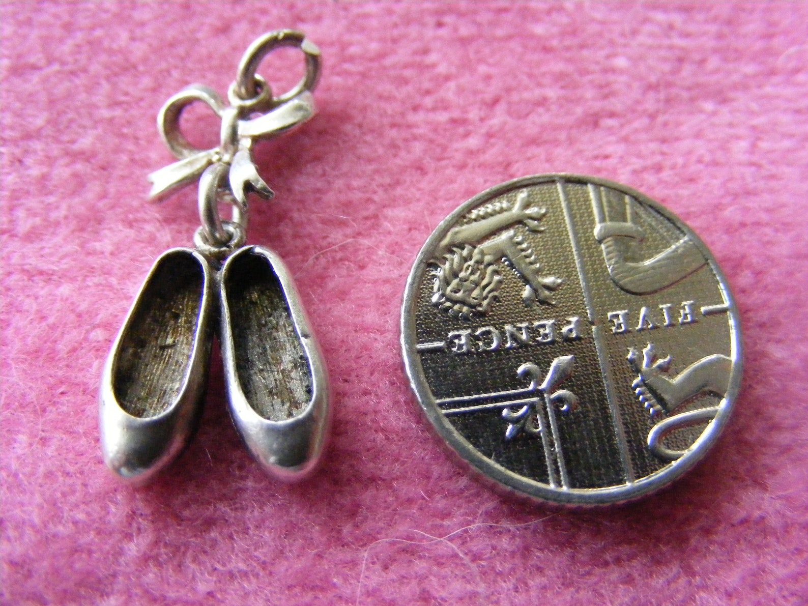 b) vintage sterling silver charm ballet shoes