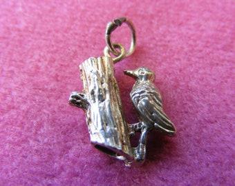 J) Vintage Sterling Silver Charm Woodpecker on a tree trunk
