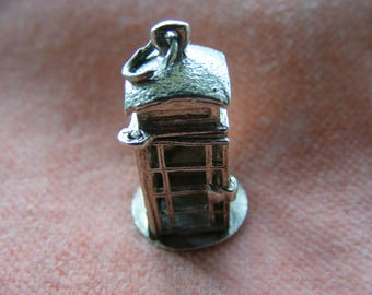 Vintage Sterling Silver Charm Telephone box opens