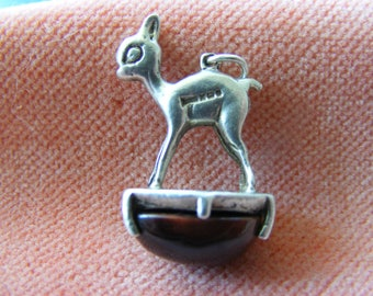 Vintage Sterling Silver Charm Bambi deer on Agate