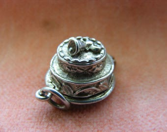 Vintage Sterling Silver Charm Wedding cake opens to bride groom and priest