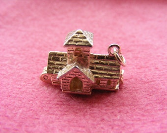 I) Vintage Sterling Silver Charm Church opens to a Wedding, Bride  Groom  Priest