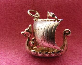 I) Vintage Sterling Silver Charm Saxon war ship