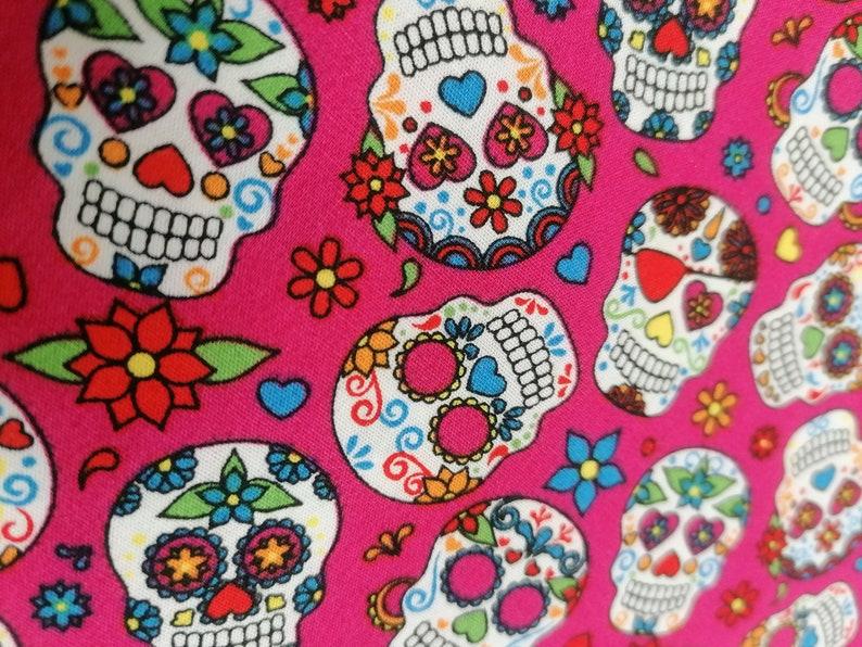 Cotton fabric fushia pattern skull  100/% cotton  Fabric mask