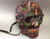 Hand painted Dark Red Sugar Skull Skeleton mask for Wear or Art Wall Decoration