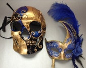 Couples Gold Blue Masquerade Ball Mask with handle Pair Mens Skeketon Mask