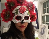 Red Embroidery Flower Mask day of the dead deco and wearable mask