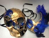 Couples Gold Blue Masquerade Ball Mak Pair Mens Skeketon Mask