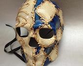 Halloween Skeleton mask for Men Boys Blue accent Venetian Inspired Hand Painted Sugar skull Mask