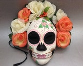 Dia De Los Muertos Bridal Wedding Full Face Mask flower day of the dead deco and wearable mask