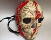 Halloween Skeleton mask for Men Boys Red accent Venetian Inspired Hand Painted Sugar skull Mask