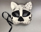 Black White Cat Masquerade mask for Dress up Halloween Cosplay Party