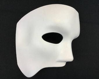 Unpainted White Masquerade Phantom Mask To Make Your Own Halloween