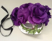 Purple flower Mask half face day of the dead dec and Costume Party wear