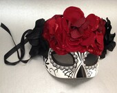 Dia De Los Muertos Painted half face Sugar skull Mask flower day of the dead deco and wearable maskn
