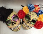 Mardi Gras Sugar skull Full Face Mask Pair flower day of the dead deco and wearable mask