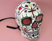 Hand painted Sugar Skull Skeleton mask for Wear or Art Wall Decoration