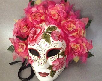 af16775ac512 Dia De Los Muertos Pink Embroidery Roses Full Face Mask flower day of the  dead deco and wearable mask