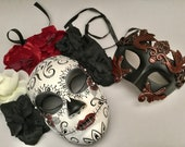 Dia De Los Muertos Black Red Roses Full Face Mask flower day of the dead deco and wearable mask