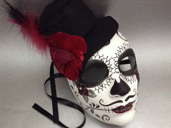 1711a6283ab Dia De Los Muertos Painted Sugar skull Mask flower day of the dead deco and  wearable mask
