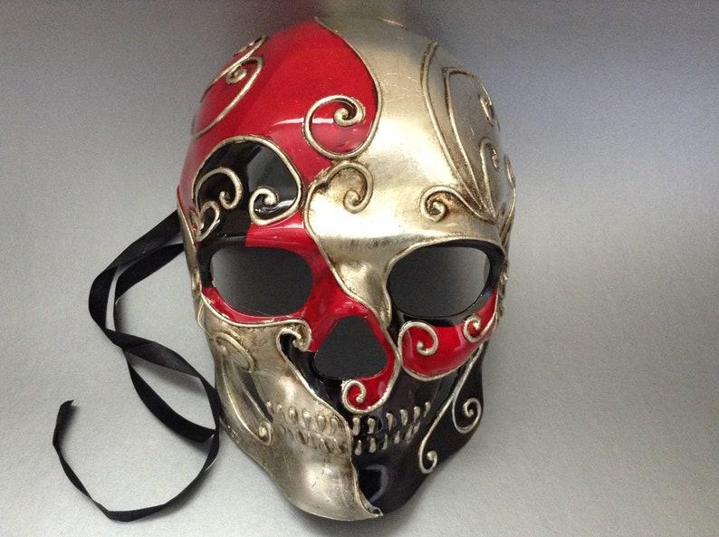 Couples Silver Red Masquerade Ball Mak Pair Mens Skeketon Mask