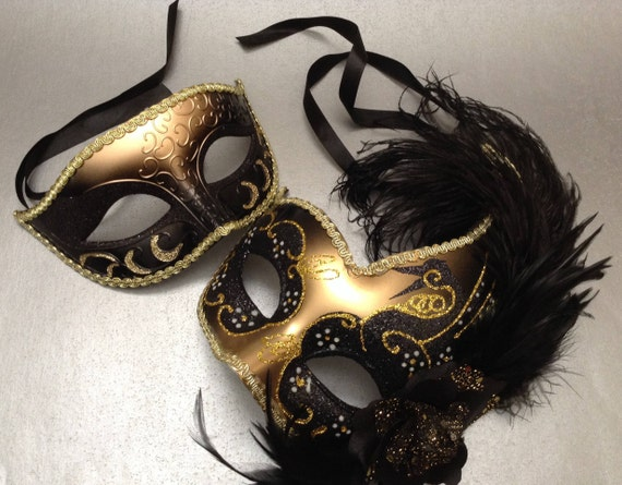 Black Gold Masquerade Ball Mask For Black Dress Formal Party Etsy