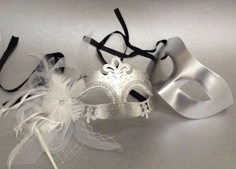 Stick Masquerade mask couple set birthday bachelor prom wedding mardi gras party