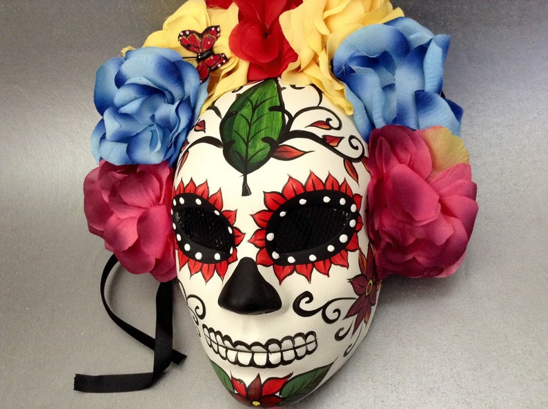 Dia De Los Muertos Flower Full face Mask day of the dead deco and wearable mask