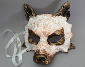 White Bronze Wolf Masquerade mask for costume dress up Party