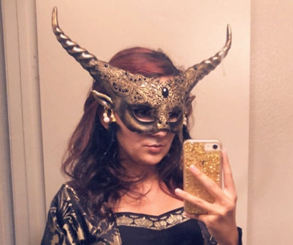 Forest Fairy Earth Woodland Masquerade Brocade Lace Mask Horn Earring Party Deco