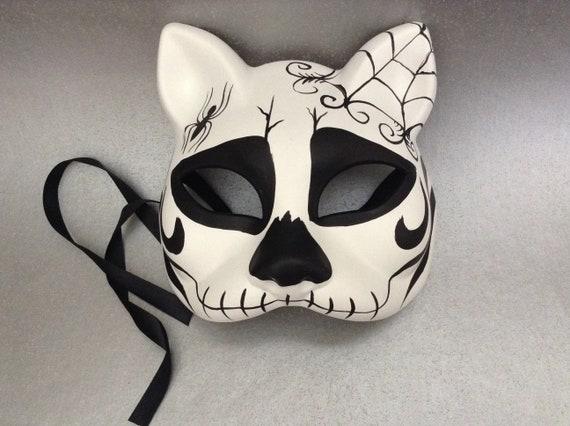 de Muertos unisex children adult costume party Halloween kitty cat mask D