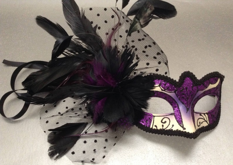 Netting Feather Dad Daughter Dance Party Purple Masquerade ball mask Pair