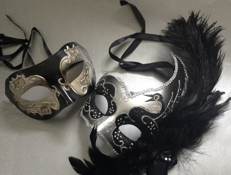 Silver Black Masquerade ball mask Pair Feather Music Notes