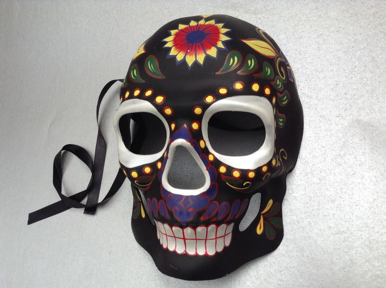 Mexican Day Of The Dead Red Black Lace Sugar Skull Mask Día de Muertos Mask Ball