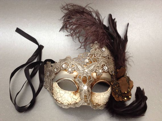 Brocade Lace Light Beige Silver masquerade ball mask ostrich feather
