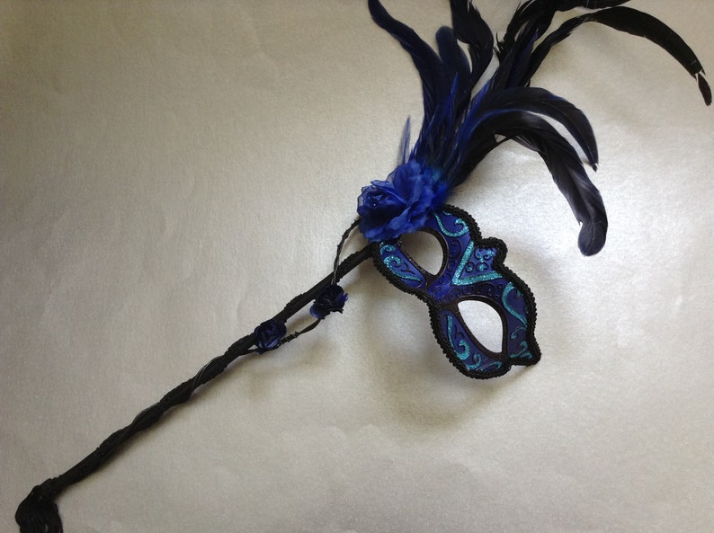 Black Dark Blue Masquerade ball Party Feather roses Stick mask