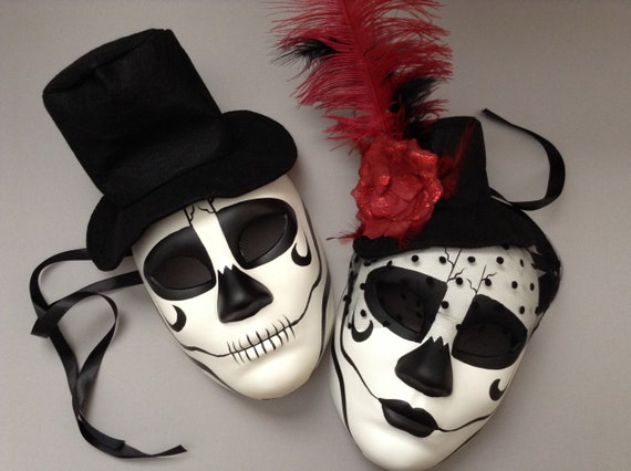 Black Red Masquerade Couple Full Face Mask Day of the Dead Costume Wear or Deco