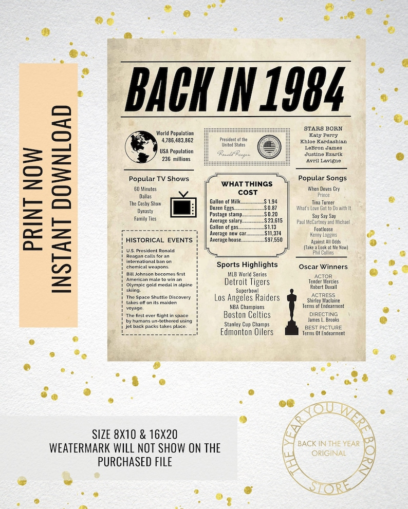 graphic regarding Printable Olympic Tv Schedule titled 1984 Newspaper Poster, Birthday Poster Printable, Season Capsule 1984, The 12 months 1984 Immediate Obtain, 1984 poster poster indication
