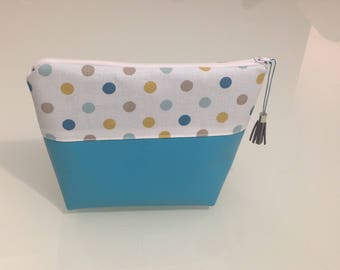 Polka dots and faux leather cosmetic case
