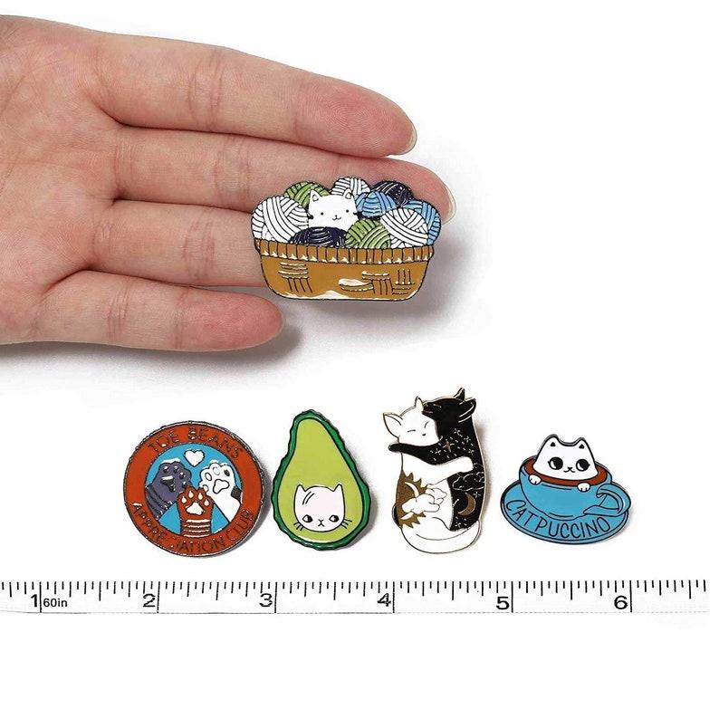 77b8c6e9faf4 Cute Cartoon Funny Enamel Pins Set, Cat Rainbow Lapel Pins, Brooch Lovers  Geek Gift